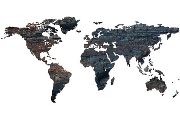World map on the background of burnt wood. Isolated on white bac
