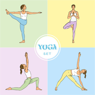 Yoga Set. Yoga class, center, studio. Set of yoga poses (girl in violet, blue, yellow, green and white clothes). Vector yoga illustration. Women in recreation activities. Healthy lifestyle.