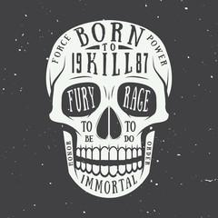 Vintage skull label, emblem and logo. Vector illustration