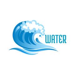 Blue ocean wave with foam bubbles