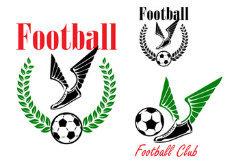 Football emblems with winged boots and balls