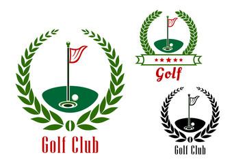 Golf club badg with ball on field