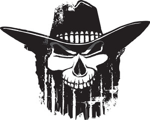 Rough Rider cartoon outlaw skull with western hat.