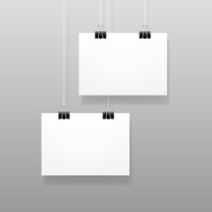 Vector White Blank Paper Wall Poster Template