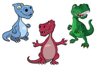 Cartoon blue, green and purple t-rex dinosaurs