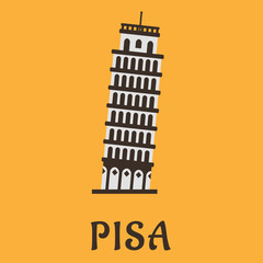 Icon of Pisa Tower in flat style.