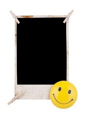 Photo frame with clothespin and smile face