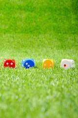 芝生に転がっているカラフルなサイコロ