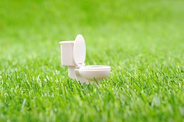 緑の芝生の上にある白い洋式トイレの便器