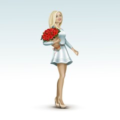 Blonde Woman Girl in Dress with Flowers