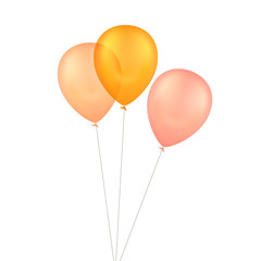 Vector Orange Yellow Balloons Isolated Background