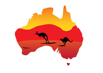 Australia map and two hopping kangaroo