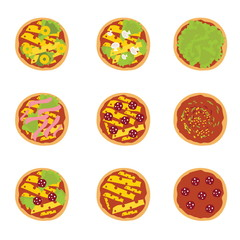 Set of illustration of tasty pizza