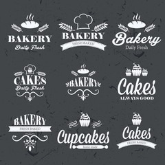 Vintage retro bakery labels on chalkboard
