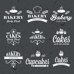 Vintage retro bakery labels on chalkboard