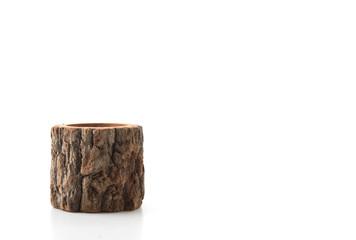wood vase isolated on white background