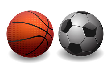 Basketball and Soccer Ball. isolated on white Background.