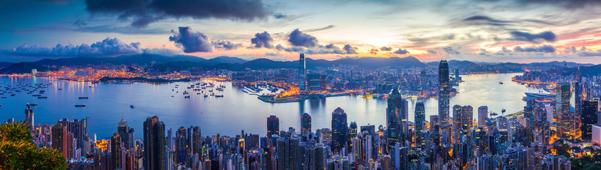 Photo sur Aluminium Hong-Kong City and Harbor at dawn
