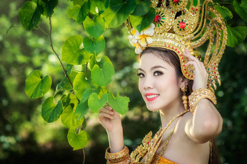 Cambodian woman in tradition dress