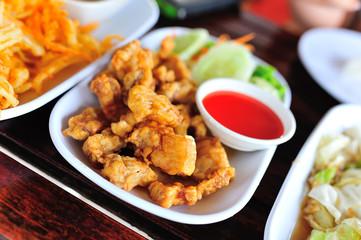 chicken fried in soft light