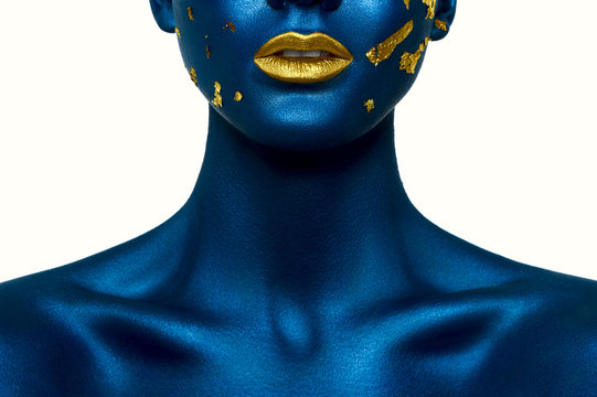 Beauty female Model with blue Skin and gold Lips