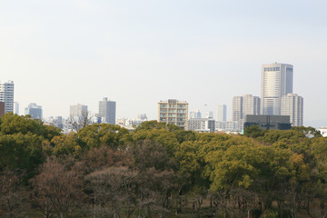 a wide view of osaka city