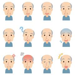 顔 表情 セット 高齢者男性
