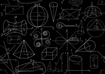 Vector seamless pattern with mathematical figures