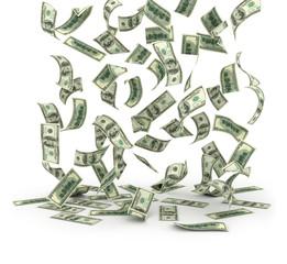 Falling dollar bills on white background