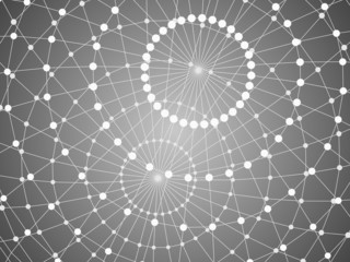 Abstract tech background with lattice  sphere.