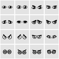 Vector black cartoon eyes icon set