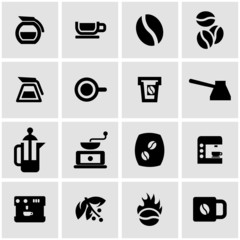 Vector black coffee icon set