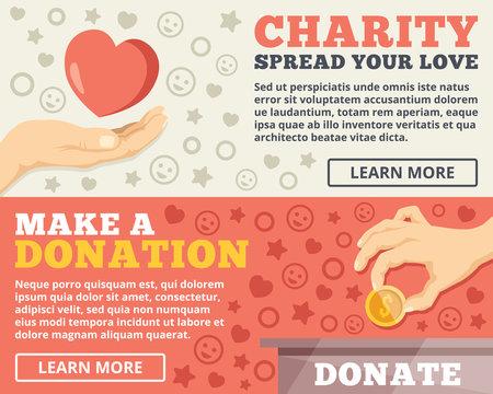 Charity, donation flat illustration concepts set