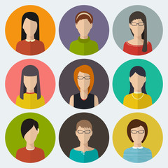 Set of round flat icons with women