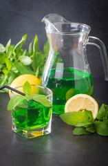 Green mojito cocktail . tarragon