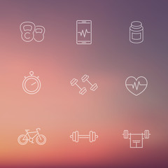 line fitness, gym white icons on blur background