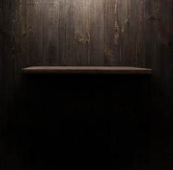 dark wooden background texture. Wood shelf, grunge industrial interior