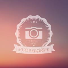 photography, camera, photographer grunge vintage logo on blur background