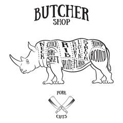 Butcher cuts scheme of rhinoceros