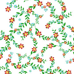 Green branch with leaves and red and blue flowers on a white background. Vector illustration