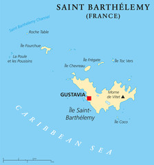 Saint Barthelemy political map with capital Gustavia, also called St. Barts or St. Barths is an overseas collectivity of France. English labeling and scaling. Illustration.