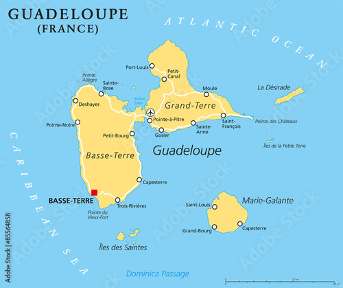 Guadeloupe Political Map With Capital BasseTerre An Overseas - Dominica political map