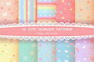 cute rainbow season colorful pastel seamless pattern background