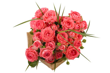 Beautiful roses bouquet isolated on white
