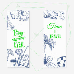 Vector summer travel doodle banners with boat, plain, umbrella. EPS10