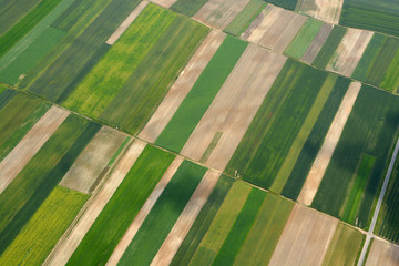 Tuinposter Luchtfoto Aerial view of the countryside with village and fields of crops