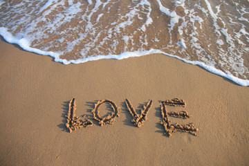 love written at the beach