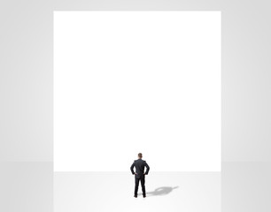 businessman looking at empty background