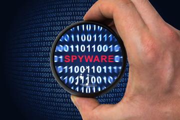 Antivirus scans for spyware in binary code - fototapety na wymiar