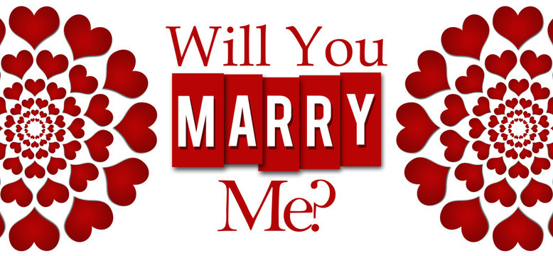Will You Marry Me Red Hearts Stripes Horizontal